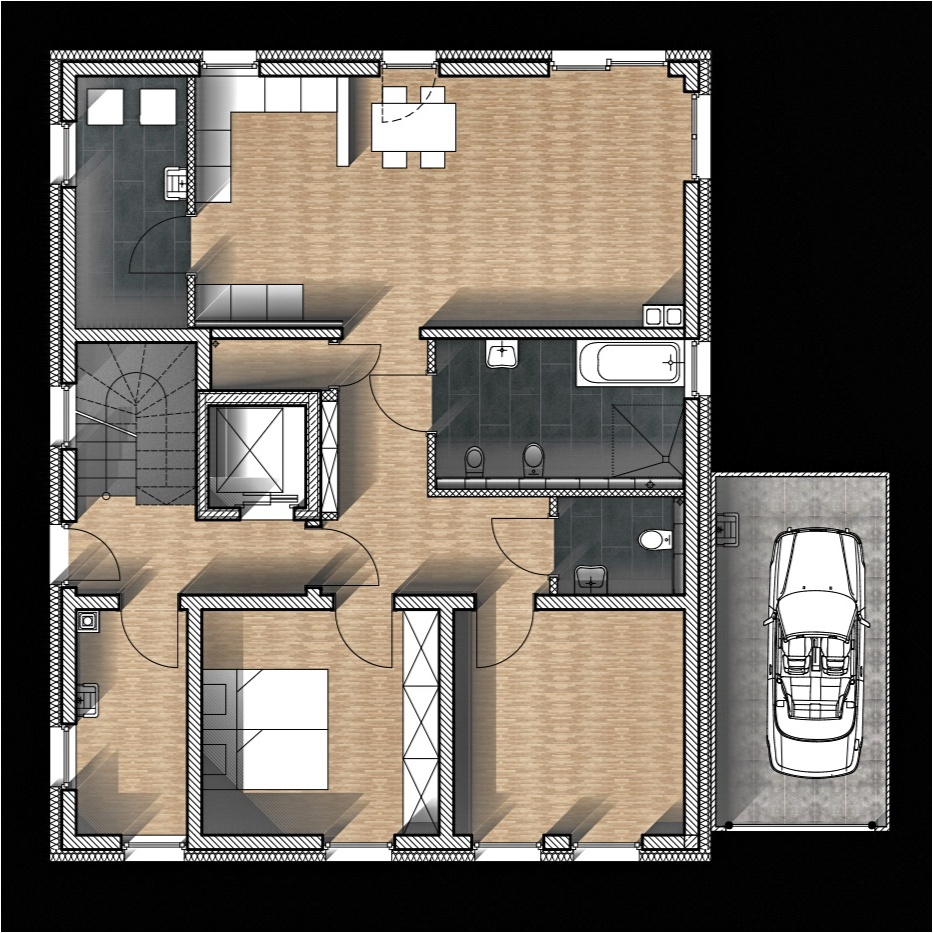 Erdgeschoss Entwurf Barrierefreies Zweifamilienhaus von muellerarchitekt in Solingen
