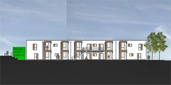 Nordansicht Neubau eines Wohnhauses für Menschen mit Behinderung durch muellerarchitekt. Solingen